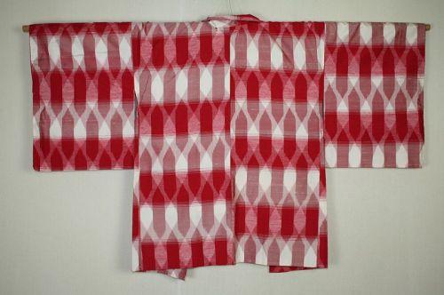 Japanese vintag Very charming red & white geometric silk haori jacket
