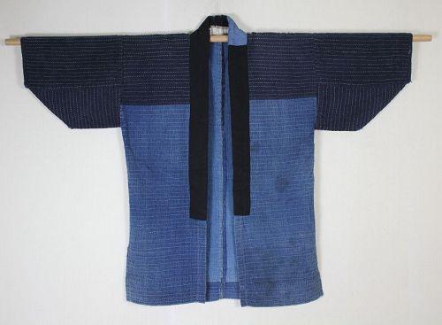 Japanese antique indigo dye cotton syonai sashiko boro noragi