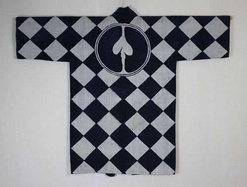 Japaese Antique tsutsugaki Textile Hikeshi Hante Indigo Cotton Edo