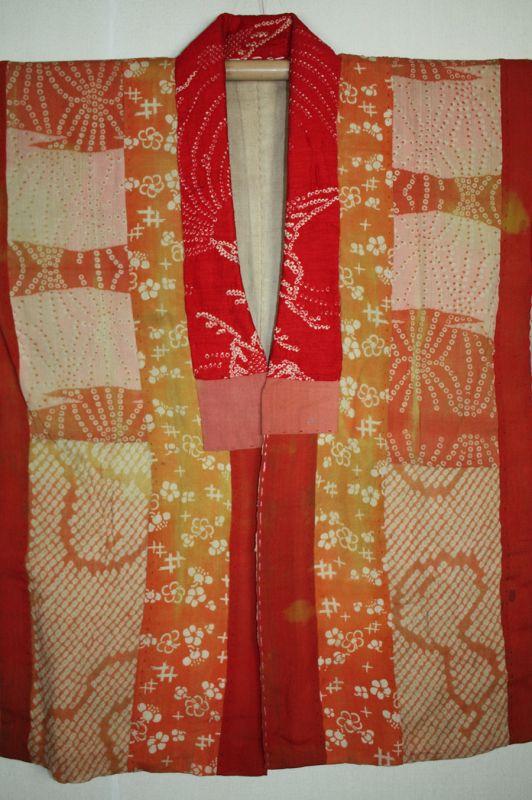 Japanese antique safflower dyeing itajime shibori hanjyuban edo-meiji