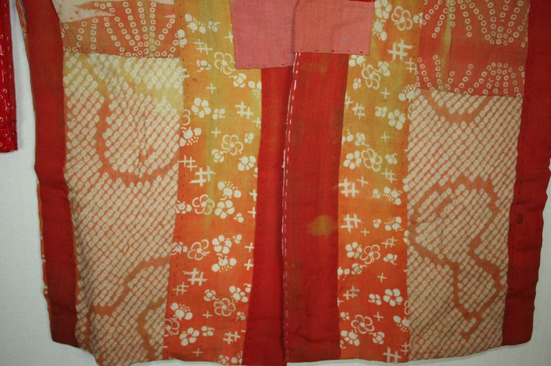 Japanese antique safflower dyeing itajime shibori hanjyuban edo-meiji