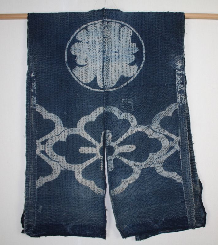 Japanese antique natural indigo dye cotton shirushi hanten Boro noragi