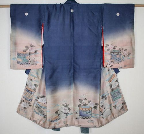 japanese antique silk indigo dye yuzen dye child kimono of meiji