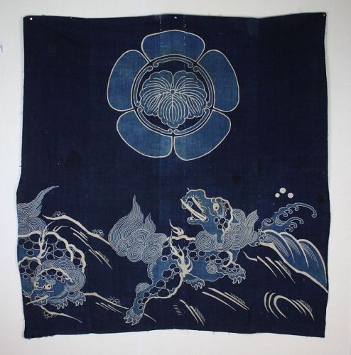 Baku family crest wave,tsutsugaki futon cover indigo dye cotton meiji