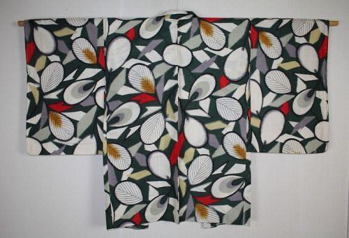 Japanese vintage meisen haori jacket with a charming geometric pattern