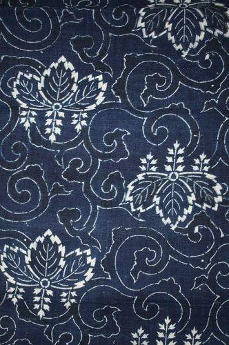 Japanese antique Thick handspun & natural  indigo dye katazome long fa
