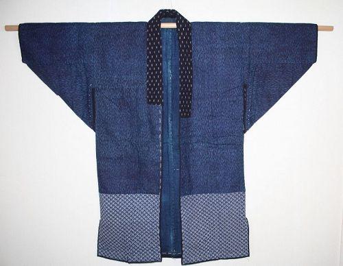 Japanese vintage indigo dye cotton katazome boro noragi Thick jcaket