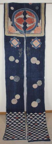 Japanese antique indigo dye hemp tsutsugaki umakake textile of edo