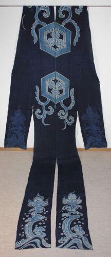 Japanese antique indigo dye hemp tsutsugaki textile umakake of edo