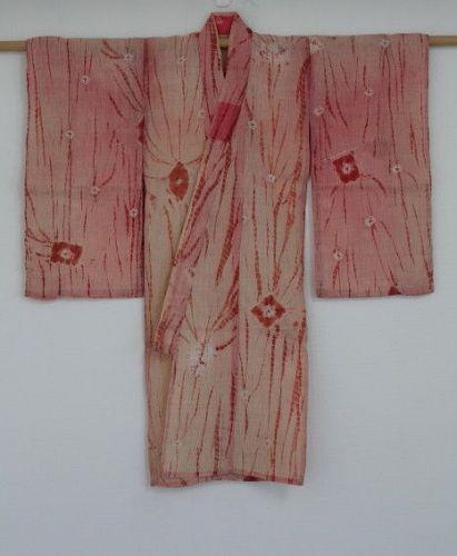 Japanese antique child kimono of hemp safflower  dyed & shibori dye