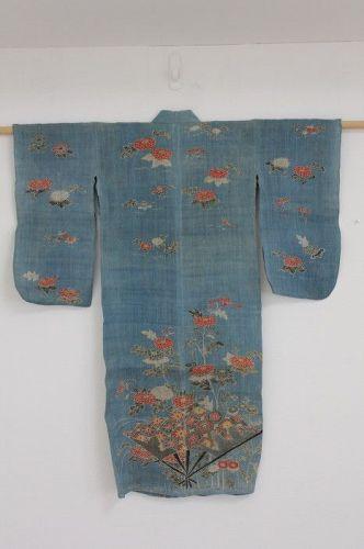 Japanese antique child kimono of natura lindigo dye hand Yuzen-dyed