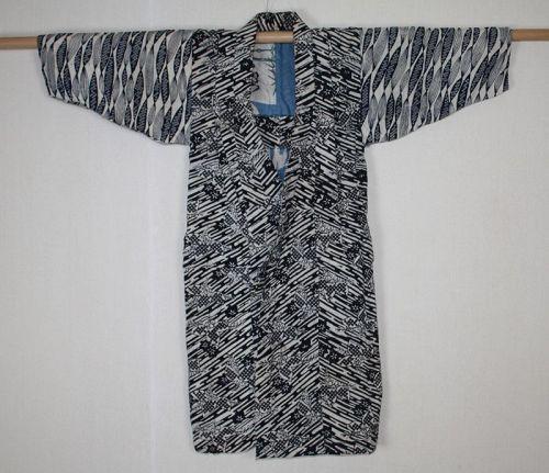 japanese antique indigo dye katazome Thick cotton child kimono meiji
