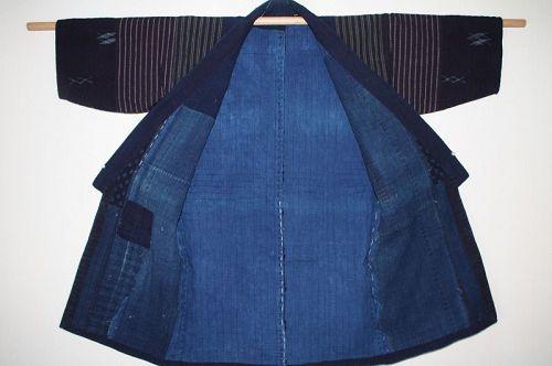 Japanese antique boro noragi indigo dye cotton kasuri sashiko meiji