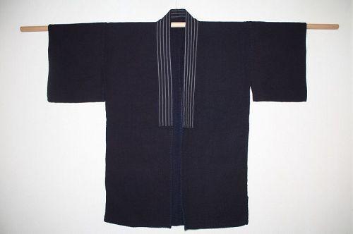 Japanese antique indigo dye cotton Shonai sashiko noragi meiji
