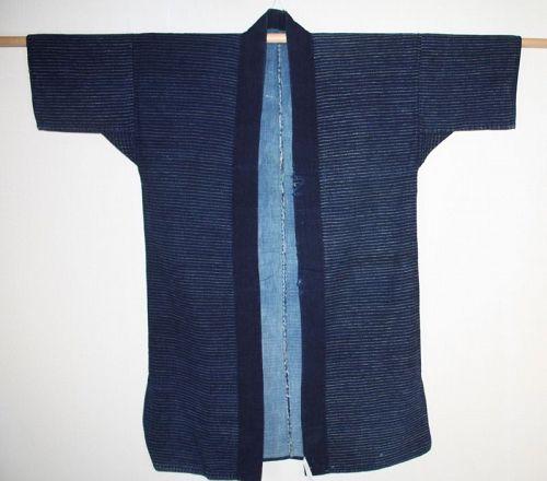Japanese antique indigo dye boro noragi of sashiko-stitched meiji
