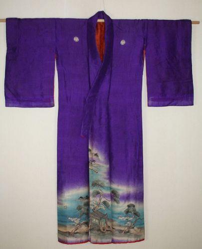 Japanese antique silk yuzendye kimono the Meiji era
