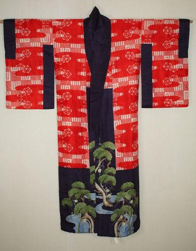 Japanese antique silk beni-itajime & yuzen dye kimono of meiji era