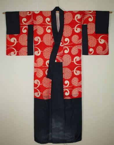 Japanese antique beni-itajime katazome silk kimono of meiji era