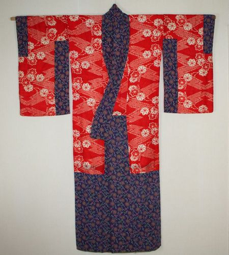 Japanese antique beni itajime katazome silk kimono  Beautiful of meiji