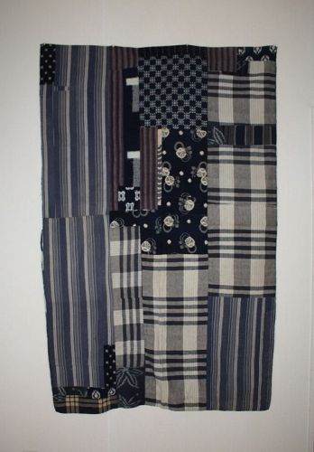 Japanese antique indigo dye cotton  patched  Thick futon cover