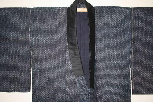 Edo katazome edokomon kimono of Indigo dye thick cotton  hand-spun
