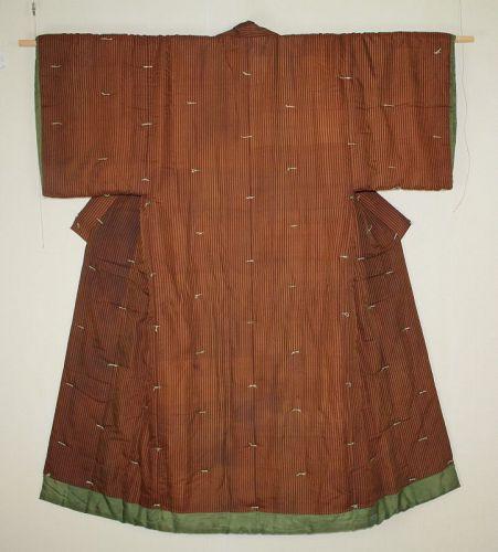 Japanese antique Edo Period akita-kihachijyo silk stripes yogi kimono