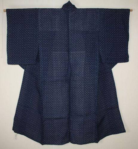 Japanese antique indigo dyed  ikat ramie choma kimono