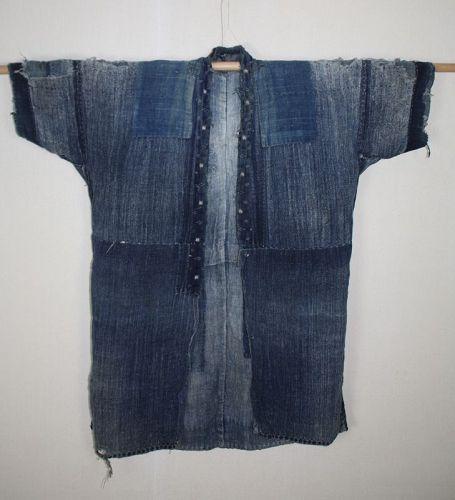Japanese antique Tattered boro noragi indigo dyed hemp