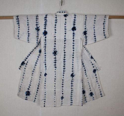 Japanese antique indigo dye shibori (Tie-dye)cotton child kimono
