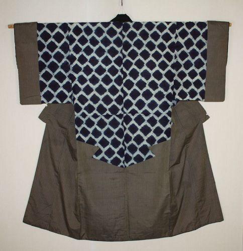 Japanese antique indigo dye (Tie-dye)& Stripes kimono of edo period