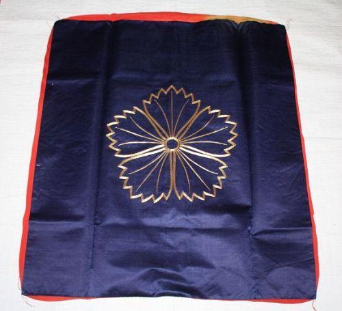 Japanese antique edo fukusa of silk indigo dye syusu hand-embroidered