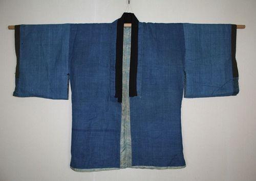 Japanese antique indigo-dyed cotton & silk katazome noragi hanten edo