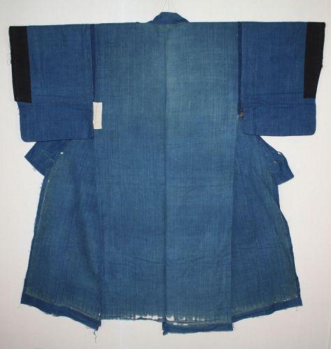 Japanese antique very good indigo-dyed cotton  boro kimono edo