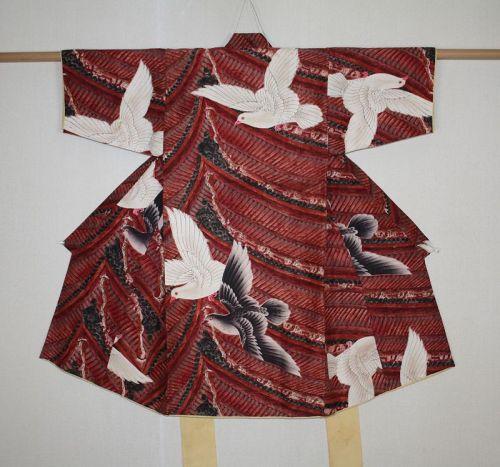 Japanese antique silk very rare raran design Taisho era child kimono
