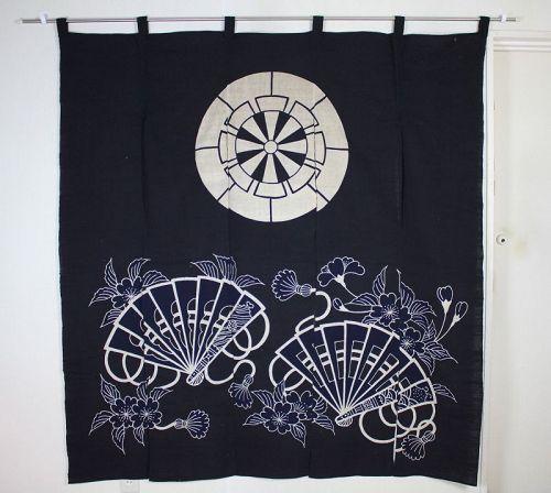 japanese antique tsutsugaki Indigo dye cotton thick noren textile Edo