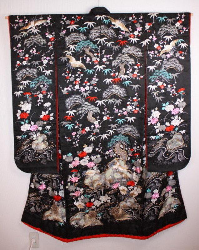 Japanese meiji rinzu embroidery furizode kimono