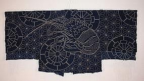 Japanese edo textile indigo dye sashiko hanten