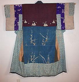 Japanese edo  yuzen katazome yosegire Patchwork kimono