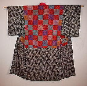 Japanese shibori katazome yosegire Patchwork kimono