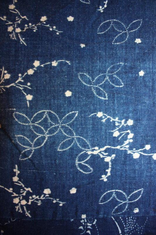 Japanese meiji indigo dye katazome noragi hanten