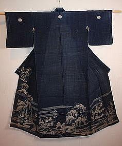 Japanese edo hemp katabira tsutsugaki kimono Rare