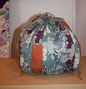 Japanese Antique Textile Silk Kome-bukuro Meiji