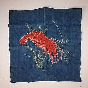 Japanese Antique tsutsugaki textile hemp furoshiki meij