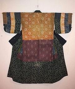 Japanese Edo Antique yosegire shibori katazome kimono