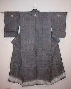 Japanese antique montuki susogara hemp kimono Rare