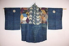 Edo Patchwork hanjyuban silk katazome & shibori Rare