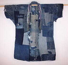 Japanese Meiji indigo dye boro noragi textile