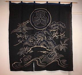 Japanese meiji tsutsugaki noren textile wonderful