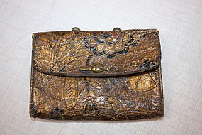 Jpanese edo antique Cigarette case with skin