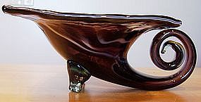 Hand Blown Marigold Brown Art Glass Cornucopia